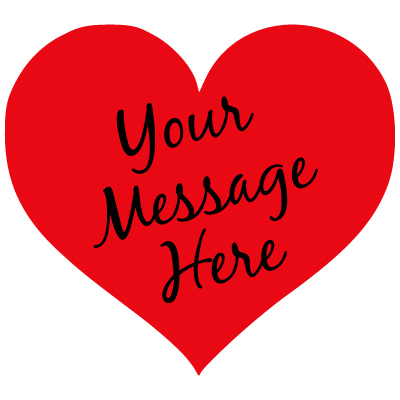 """red heart with black script """"Your Message Here"""""""