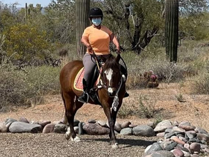 Nutmeg being ridden in the outdoor arena by a student wearing a facemask
