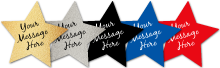 """""""Your message here"""" on horizontal line of stars"""