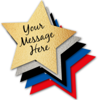 """""""Your message here"""" on stack of colored stars"""